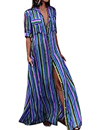 992267be56b8 VEMOW Sommer Herbst Elegante Damen Frauen Halbe Hülse Striped Multicolor  Lose Taste Bohe Casual Täglichen Party Dating Beach Holiday…