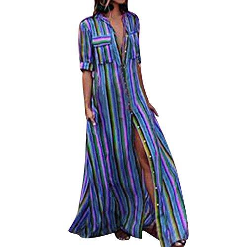 Damen Kleid Boho Gestreift Bunt Lang Kleid Lose Casual Taschen Kragen Button Down Blusenkleid Halber...