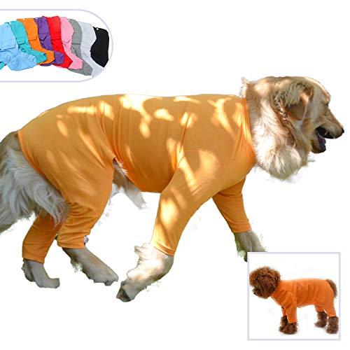 lovelonglong Hunde-Pyjama mit 4 Füßen, aus Reiner Baumwolle für Hunde, Einteiler, T-Shirt, stilvolles PJS Welpenkostüm für große, mittelgroße und kleine Hunde