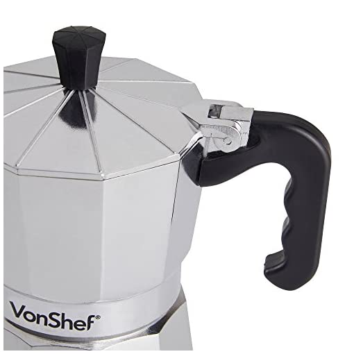 VonShef 3 Cup Italian Espresso Coffee Maker Moka Stove Top Macchinetta Includes a Replacement Gasket and Filter (3 Cup)