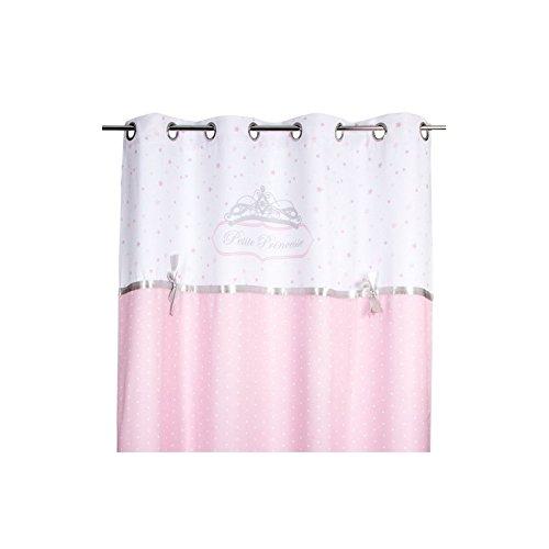 Cortina princesa blanco y rosa brillante con lazo bordado. 126994A