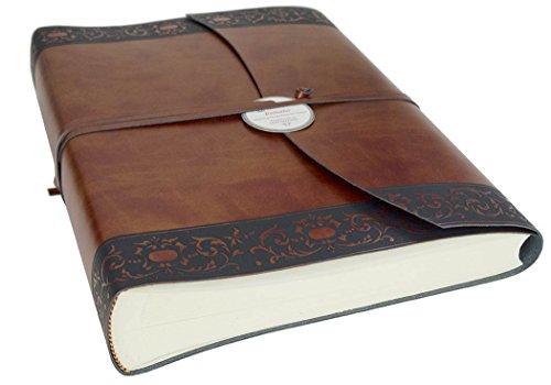 Brown Italienischen Leder Handgefertigt (Romano Handgemachtes italienisches Fotoalbum aus recyceltem Leder, Klassische Seiten (23cm x 30cm))