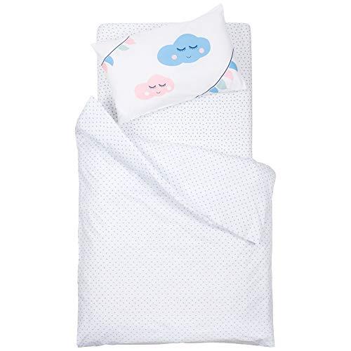 emma & noah Kinder Bettwäsche mit OEKO-TEX - Set aus Kissenbezug in 40 x 60 cm & Bettdecke in 100 x 135 cm, Baby Bettwäsche fürs Babybett, für Mädchen & Junge (Motiv: Herz in Blau Rot Weiß)