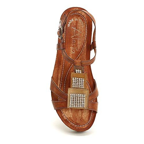 ALESYA by Scarpe&Scarpe - Schuhe mit Keilabsatz, Strasssteinen und Riemchen am Knöchel, Leder Braun