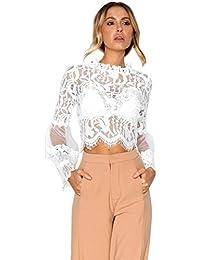 IMJONO Moda Tops casuales de encaje Blusa de manga larga ahuecada Camisas para mujer