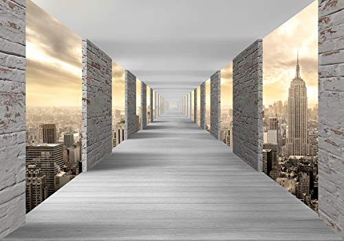 wandmotiv24 Fototapete New York endloser Gang XXL 400 x 280 cm - 8 Teile Tapete, Vliestapete, Fototapeten, Wandbild, Motiv-Tapeten 3D Effekt Raumerweiterung Tunnel Stadt M1842 (Gang Motiv)