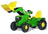 Rolly Toys John Deere 6210 R Trettraktor mit Lader (Farmtrac Traktor; Flüsterlaufreifen; Frontlader, Schaufellader; Kinder 3 – 8 Jahre, Farbe grün) 611096