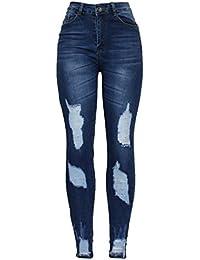 52ac383ac3f Barfly Fashion New Ladies Womens High Waist Blue Ankle Distressed Ripped  Knee Cut Stretch Skinny Fit Denim…