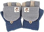 Kdjsic Guantes sin Dedos Tejidos de Invierno para bebés y niños con Cubierta de Solapa Multicolor Patchwork Fl