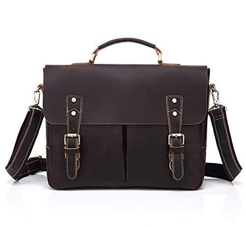 Männer Echtes Leder Messenger Tasche Laptoptasche Satchel Bag Mens Executive Business Büro-Arbeit Tasche Reines Leder-Umhängetasche-Darkbrown-OneSize -