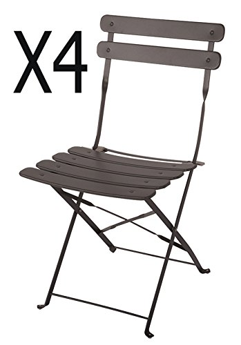 PEGANE Lot de 4 chaises de Jardin en Acier époxy Coloris Taupe Mat - Dim : 42 X 46 X 80 cm