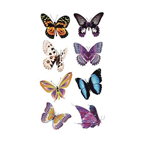 Tatuaggio temporaneo sopracciglia tatuaggio temporaneo per adulto tatoo sticker art specimen butterfly a-075 fake tattoo man woman 8pc