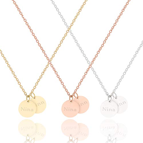 Kette mit Gravur 2x 10mm Plättchen Anhänger mit Namen   Stainless Steel   Silber Gold Rosegold   Halskette   Personalisierte Geschenke