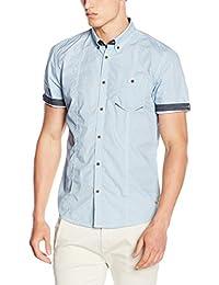 Tom Tailor Hemd Aop 1/2 Button-Down - Chemise de Loisirs - Coupe Droite - Homme