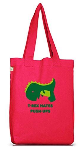 Shirtstreet24, T-Rex Hates Push-Ups,Dino Jutebeutel Stoff Tasche Earth Positive (ONE SIZE) Hot Pink
