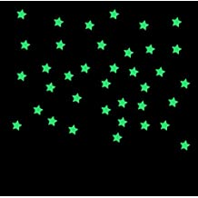 ✽Internet✽ Dormitorio 100PC Niños Hermosa fluorescentes que brillan en la oscuridad estrellas pegatinas de pared