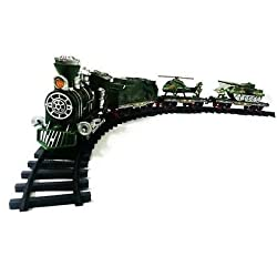 Sunshine Army Train with Big Track and Real Smoke Battery Operated with Flashlight