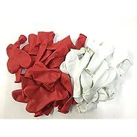 50 große Herzballons in ROT und WEISS von CARPETA // Luft und Ballongas geeignet // Herz Luftballons Herzluftballons Ballons Herzen Liebe Trauung Hochzeit Vermählung Valentinstag Deko Dekoration