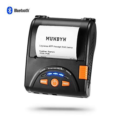 Thermodrucker Bondrucker Wireless Drucker zu erhalten Thermo Bluetooth munbyn 58 mm Papier für Android iPhone iPad mit Gürtel Leder und Akku wiederaufladbar ESC/POS