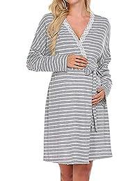 BBsmile Lactancia camisón y Bata Vestido de Maternidad para Mujer Camisón de Lactancia para la Lactancia