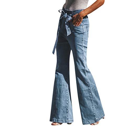 Odjoy-fan jeans donna a zampa taglia larga abbigliamento donna pizzo arco moda pantaloni elasticizzati caviglia