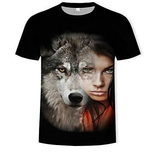 Hop-Kurzarm-T-Shirt Der Schwarzen Männer,Lustige Tierwolf-Mode-Zufällige Persönlichkeits-Halbe Hülsen-T-Stücke Schwärzen 2XL ()