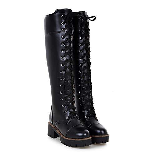 ABsoar Lange Stiefel Damen Mode Leder Boots Punkrock Kampfstiefel Casual Schnürschuhe Freizeitschuhe Knie Hoch Stiefel Britische Stil Stiefeletten mit Erhöhen Plattform -
