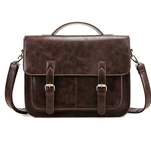 PU-Leder Umhängetaschen 14 Zoll Laptop Messenger Bags Schulter Aktentasche Dark Coffee Max Length 30-50cm (Laptop-computer 50 Dollar Unter)