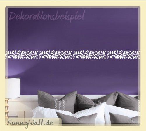 Wandaufkleber Wandtattoo Bordüre Wandbordüre Blumen Farbe: Silbergrau