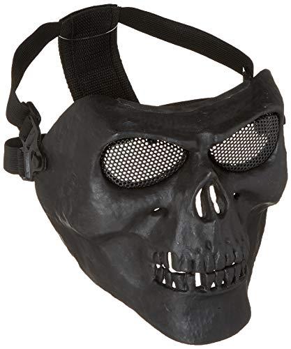 012765Tastschalter Metallic Maske für Radfahren/Halloween/Totenkopf Skelett/Airsoft/Paintball/BB Gun, eine Full Face Schutz Maske Shot Helme BK -