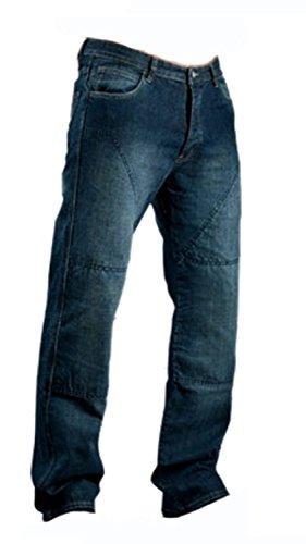 Juicy Trendz Herren Motorradrüstung Biker Motorrad Denim Hose Jeans Horn Blau, 36W / 30L, Blau