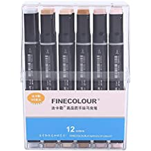 12/24/36 Colores Art Alcohol Twin Brush Rotuladores dobles Color de piel Set