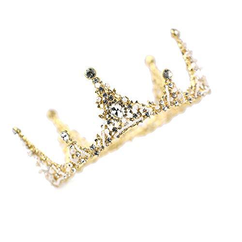 roroz Goldene Strass Krone, Braut Schleier Zubehör, Braut Schleier Zubehör, Prinzessin Geburtstag Krone Tiara High-End-Styling Braut Krone Schmuck,Gold