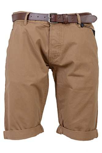 Mens Slim Fit Chino Shorts by Smith & Jones 'Inertia' Cotton Twill With Belt