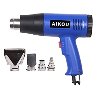 Heat Gun with 50℃~600℃ Adjustable Temperature and Air Flow Settings,Professional 1800W Hot air Gun for Stripping Paint,Shrinking PVC,Cleaning Grill, Bending or Soldering Pipes(Blue)