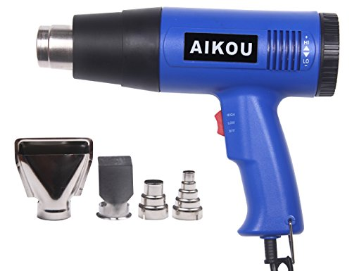 Pistola de aire caliente, Potencia de 1800W, Temperatura de 60 – 600 °C, flujo de aire 250/500 l/min, con 4 Piezas Boquillas Resistentes al Calor para diferentes aplicaciones(Azul)-AIKOU