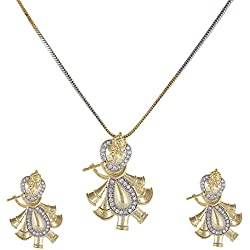 SUPERSHOP Gold Plated American Diamond kanha ji Krishna Pendant Set for Women