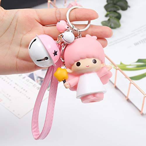 Kreative Cartoon Puppe Schlüsselbund Auto Schlüsselbund Anhänger 75 * 60mm Rosa Lederseil + Baby + rosa weiße Glocke