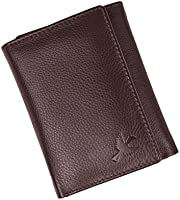 Hornbull Men's Brown Tri-Fold Leather Wallet