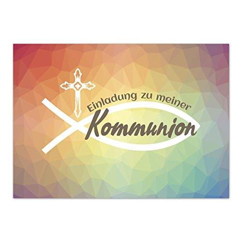 15 x Einladungskarten Kommunion mit Umschlag / Moderner Verlauf Bunt / Kommunionskarten / Einladungen zur Feier