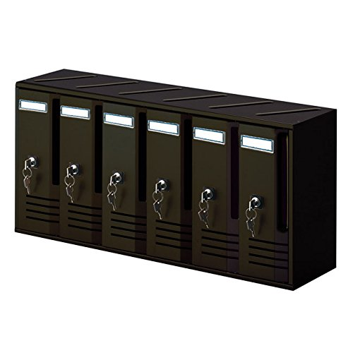 Alubox cassetta postale casellari blocchiere 6 elementi colore nero ghisa