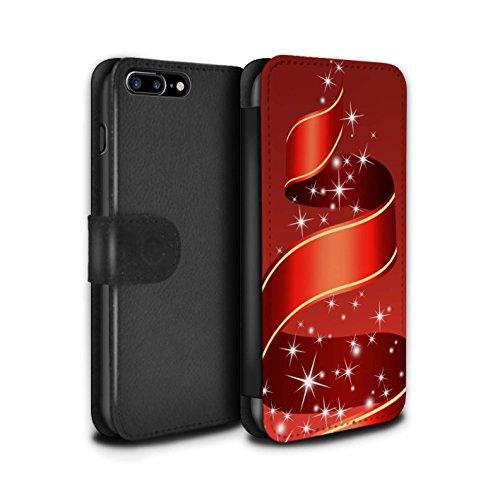 Stuff4 Coque/Etui/Housse Cuir PU Case/Cover pour Apple iPhone 7 Plus / Boules/Tourbillon Design / Décoration Noël Collection Ruban/Rouge
