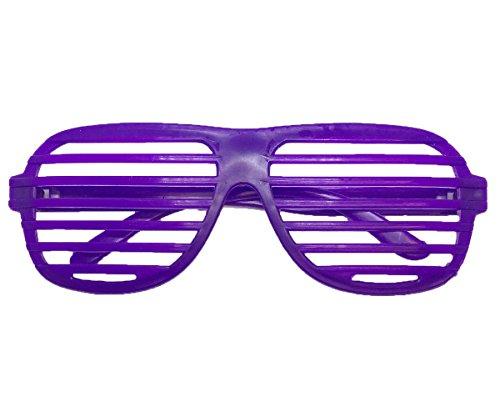 REDSTAR FANCY DRESS 80s Neon Shutter Shades Fancy Dress Clubbing Night Glasses Party  Purple