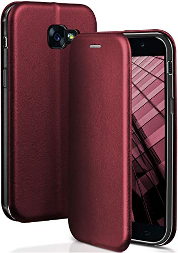 ONEFLOW® Premium Booklet mit unsichtbarem Magnetverschluss + Aufstellfunktion kompatibel mit Samsung Galaxy A5 (2017)   Exklusive Lederoptik, Wein-Rot