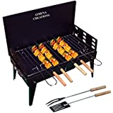 ATHENACREATIONS Charcoal Base Portable Folding Briefcase Style Barbeque Grill Toaster,Black