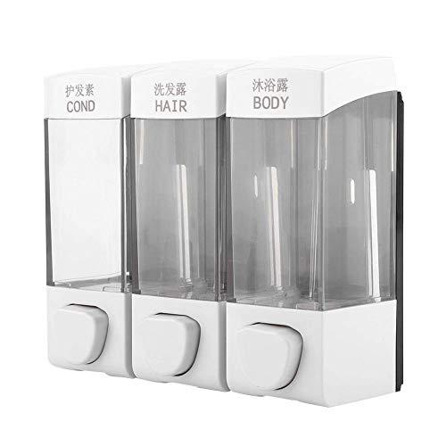 Fdit Dispensador Jabon Triple Pared 1050ML Dispensador Gel Champú para Líquido Ducha Jabón Líquido 3 Botellas Pared para Cocina y Baño