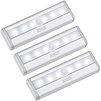 AMIR Sensor de Movimiento Armario Luces, (6 LED, 3 Pack) Luces de la Noche, Battery Operated Motion Sensor Armario luz con Palo en Cinta magnética para Pared, Armario, armarios, escaleras, cajón