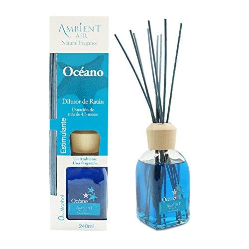 Ambientair Mikado Ambientador para Hogar, Aroma Océano, Cristal, Azul Agua, 8 x 8 x 30 cm