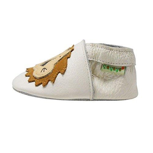 Sayoyo Chaussures de bébé enfant Chaussons en cuir souple chaussures semelle douce Avec Lion (Kaki,6-12 Mois) Blanc