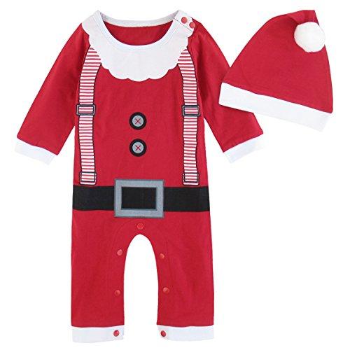Mombebe Baby Weihnachten Kostüm Weihnachtsmann Strampler mit Hut (6-9 Monate, Weihnachtsmann) Größe - Einfach Santa Kostüm